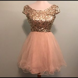 Gold Sequin and Tulle Dress